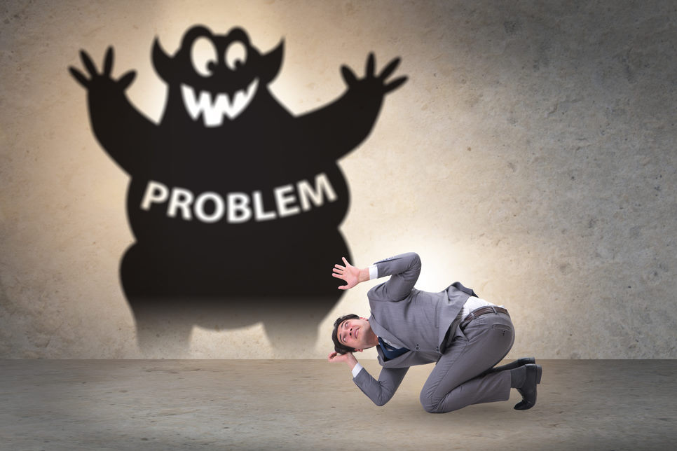Businessman afraid of the big problem